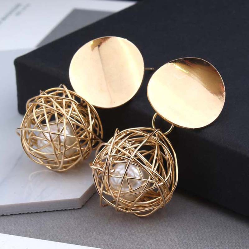 Fashion Geometric Metal Wire Woven Ball Earring For Women  Imitation Pearl Hanging Drop Earring Statement Earring Jewelry