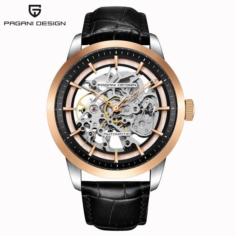 PAGANI DESIGN Men s Watch Casual Fashion Waterproof Leather Quartz Watch Men s Unique Design Hollow