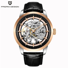 PAGANI DESIGN Mens Watch Casual Fashion Waterproof Leather Quartz Watch Mens Unique Design Hollow Calendar Mens Watch