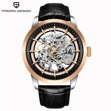 Часы PAGANI DESIGN Мужские кварцевые, повседневные модные водонепроницаемые с кожаным ремешком, уникальный дизайн, с перфорацией и календарем