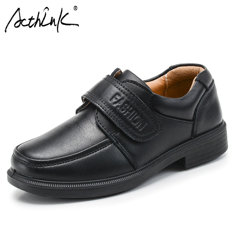 ActhInK New Teenage Boys Formal Genuine Leather Wedding Shoes Kids Brogues Children Leather Shoes Big Boys School Uniform Shoes
