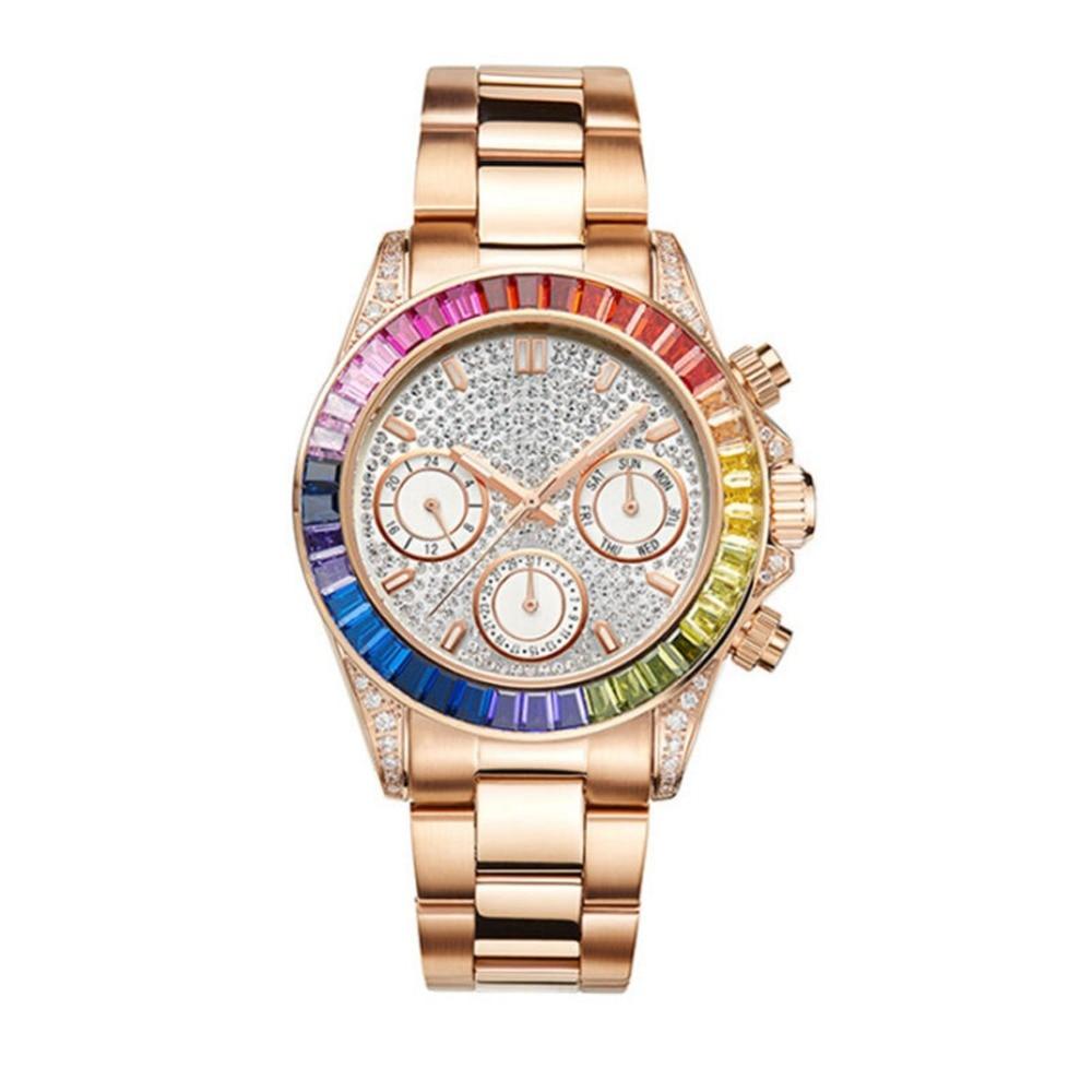 MATISSE Lady Austria Full Crystal Dial Bezel Steel Strap Fashion Quartz Watch Rosegold