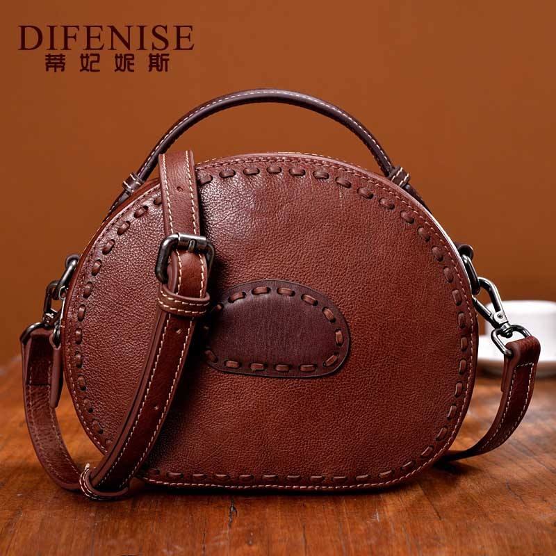 2017 New Arrivals Vintage Small Women Messenger Genuine Bags Flap Top Handle Cow Leather Handbag Solid Crossbody Bags