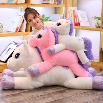2019 Новое поступление большие плюшевые игрушечные единороги милые розовые белые лошади мягкие куклы, чучела животных большие игрушки для де...