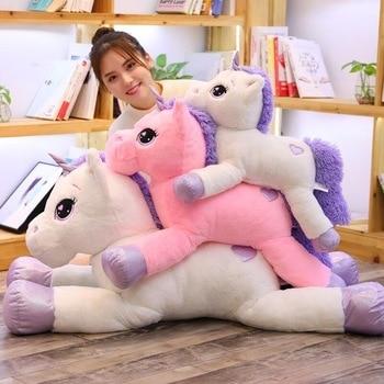 2019 Baru Kedatangan Besar Unicorn Mainan Mewah Merah Muda Yang Lucu Kuda Putih Lembut Boneka Boneka Mainan Besar untuk Ulang Tahun Anak hadiah