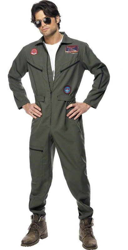 Mens Top Shot Pilot Flight Suit Aviator Maverick Uniform Gun Costume Space Astronaut Spaceman Jumpsuit Fancy Dress