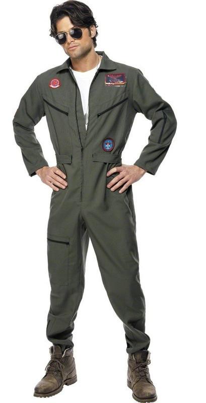 Mens Top Shot Pilot Flight Suit Aviator Maverick Uniform Gun Costume Space Astronaut Spaceman Jumpsuit Fancy Dress