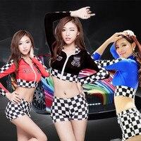 Hot Sexy Tokyo Motor Show Girls Wear Curto Car Show Girl xadrez Desgaste Longo Clube Manga de Desgaste Erotic Lingerie Desgaste da Dança FX1018