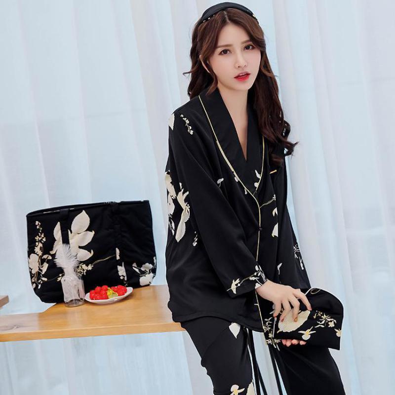 eastical Women Satin Pajamas Set Long Sleeve Nightwear Printed Loungewear Pyjama Female Sleeping Wear Two Piece PJ Suit M-XL