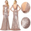 Sparkly Rose Gold Sequins Bridesmaid Dresses 2017 Scoop Neck Short Sleeves Bride Maid Of Honor Dress Long Wedding Party Dresses