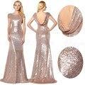 Sparkly ouro rosa lantejoulas vestidos dama de honra 2017 do pescoço da colher mangas curtas de noiva maid of honor vestido longo vestidos de festa de casamento