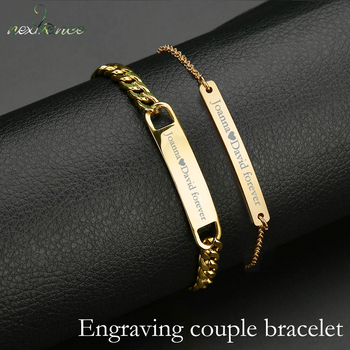 Nextvance Customized Engraving Nameplate Couple Bracelet Stainless Steel Chain Id Tag Bracelets For Lover Valentines Day