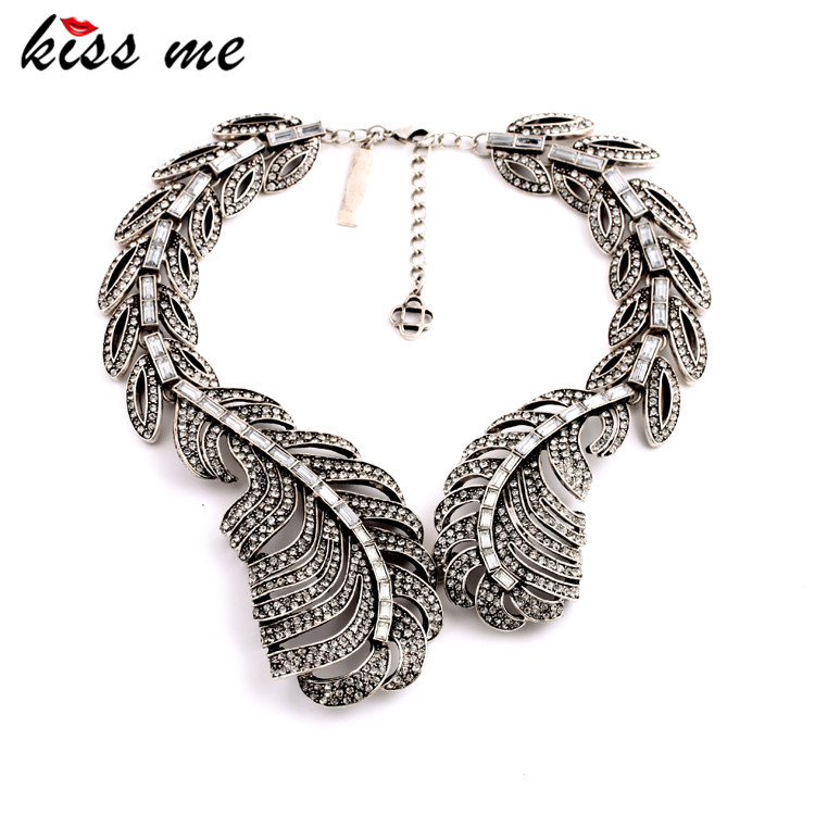 Vintage Jewelry New Design Full Created Crystal Leaf Statement Necklace KISS ME Collares Women Bijoux fm transmitter bluetooth car kit fm modulator aux out handsfree call car mp3 player radio a2dp music adapter with tf card slot