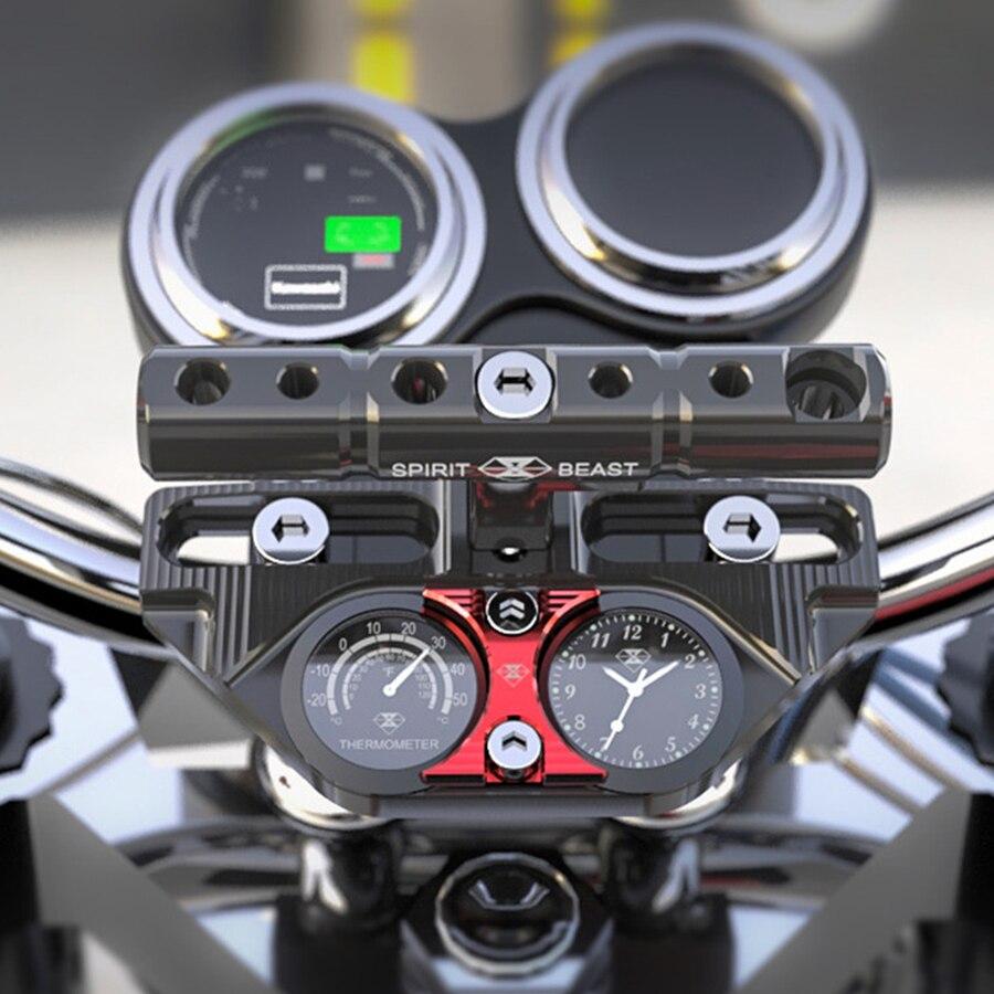 Moto multi-fonction support accessoires horloge + thermomètre Motocross guidon bloc de pression rallonge Rail