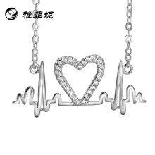 silver necklace jewelry wholesale in Europe and America heartbeat electrocardiogram a pendant manufacturer undertakes татуировка переводная heartbeat