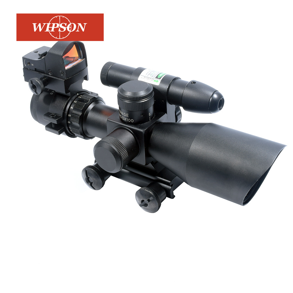 WIPSON 2.5-10x40 Rifle Scope Dual Illuminated Mil-dot W/RED(GREEN) Light Sight, Rail Mount and 4 Reticle Red/Green Dot Reflex цена