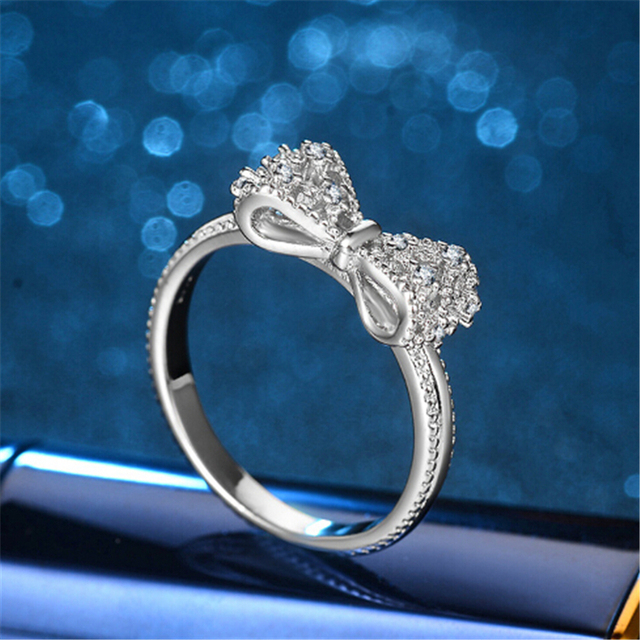 ZOSHI White Crystal Rings for Women Bow Cubic Zirconia Jewelry Vintage 925 Sterling silver Ring Stones Valentine's Day Gifts