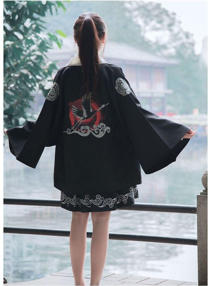 Estilo japonês roupas cosplay quimono bordado impressão guindastes roupão jaqueta Haori