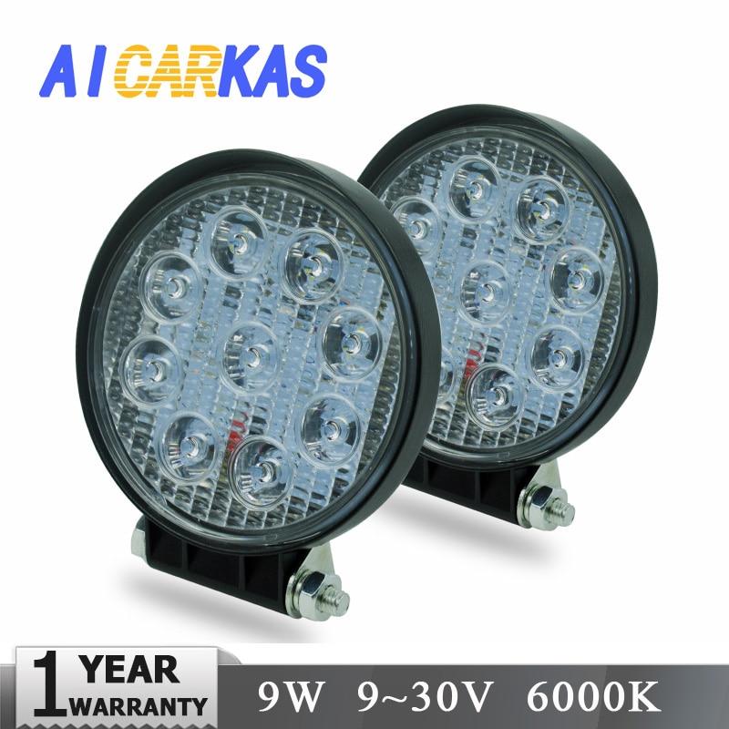 AICARKAS 2 stücke 12 v 24 v 9 watt LED Arbeit Licht Bar für Lkw OffRoad 4X4 ATV traktor Flood Beam Spot Strahl Fahren Nebel Licht Barra LED