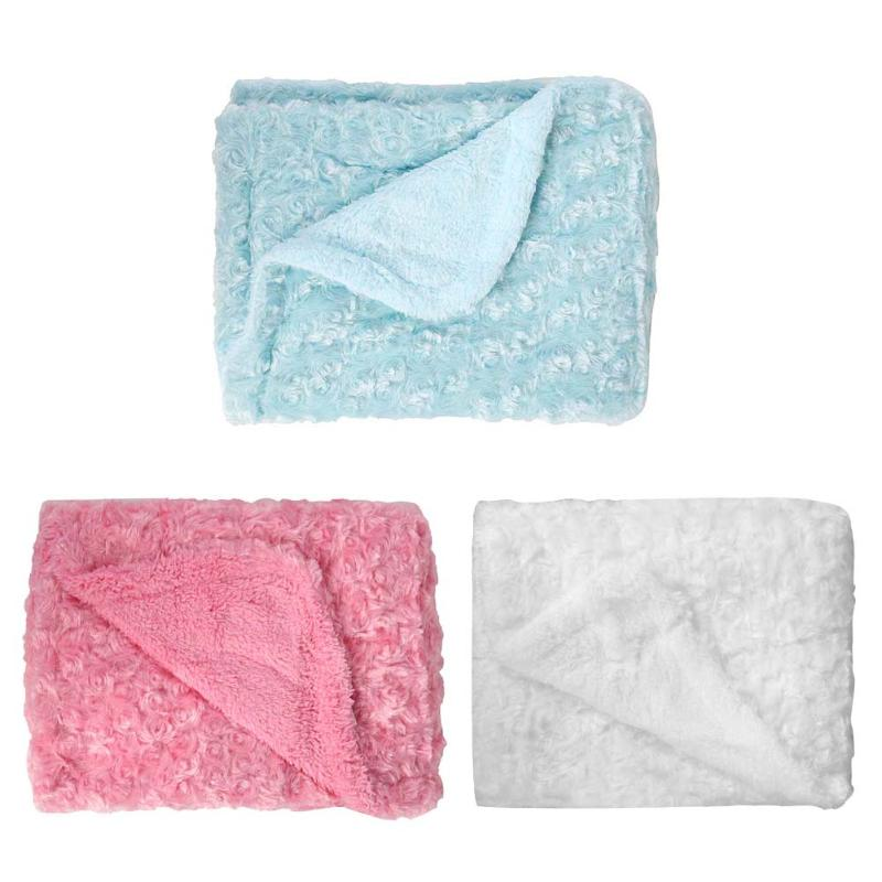 100x70cm Baby Bedding Blanket Cover Autumn Winter Children Rose Fleece Blanket White, Pink, Blue