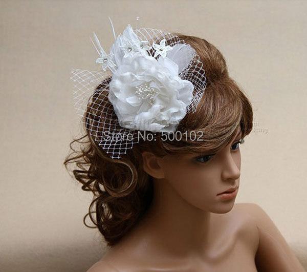 34b3c6d5 Flower Birdcage Veil Bridal Headwear Hairpins Net Flower Wedding Hair  Accessories Beads Hair Comb