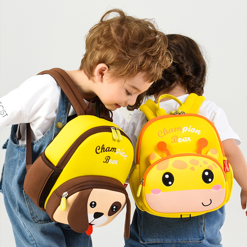 3D Cartoon Dog Deer Kindergarten Kids Backpacks For Girl Neoprene School Bags Boy Book Pack Cute Sika Deer Children Backpack