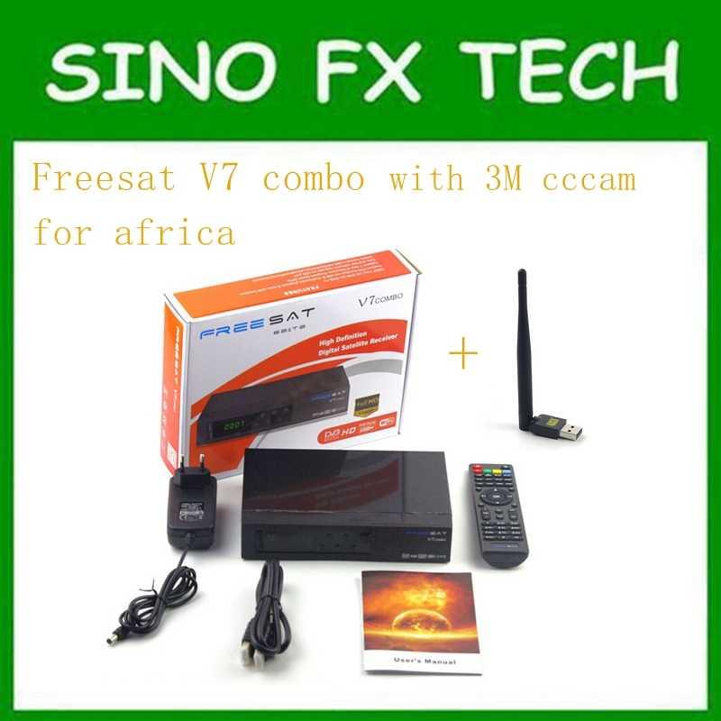 5pcs freesat v7 combo powervu receptor de tv por satélite com 3 meses livre áfrica cccam conta estável em starsat 5e