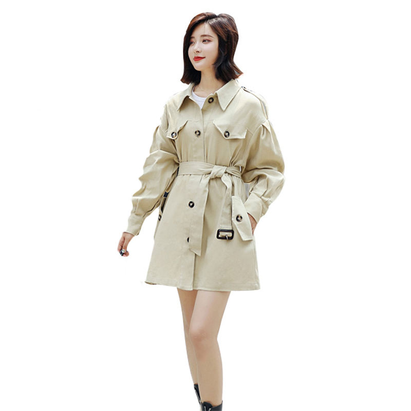 2019 casual Spring Women's   Trench   Coats Autumn Clothing Double-breasted Belt Windbreaker Outerwear Girls Tops N815