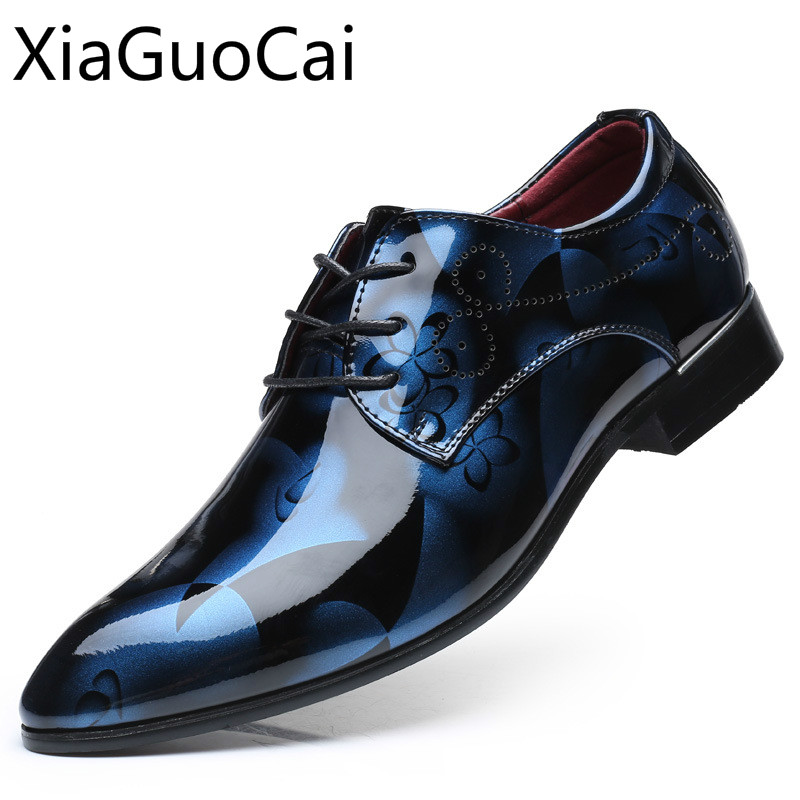 Formal Shoes Flats Dress Increasing Height Bright-Leather Men's New British Waterproof