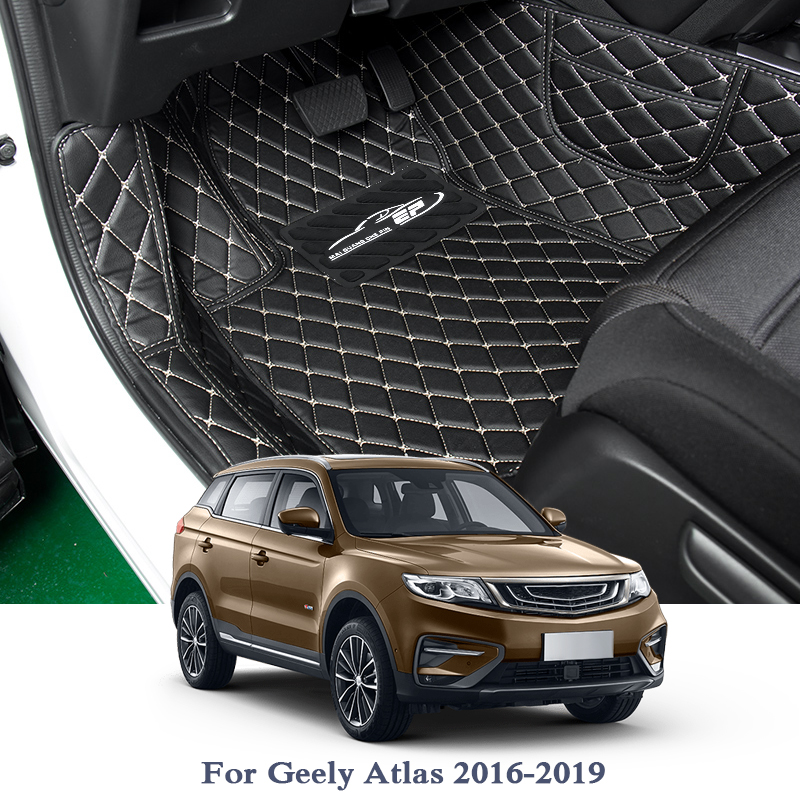 PU Car Floor Mat For Geely Atlas 2016 2019 5Seats LHD Auto Foot Pad Automobile Carpet