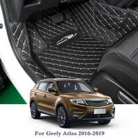 PU Car Floor Mat For Geely Atlas 2016-2019 5Seats LHD Auto Foot Pad Automobile Carpet Cover Car Styling Internal Accessories