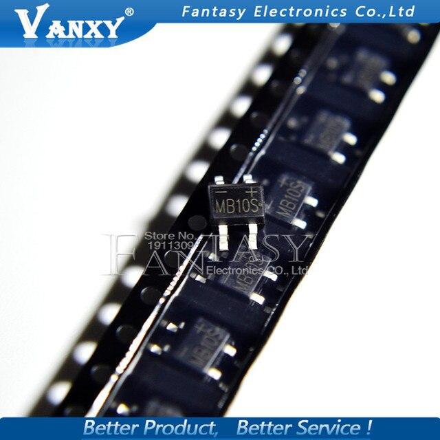 50PCS MB10S SOP-4 1000V 0.5A  bridge rectifier new and original IC