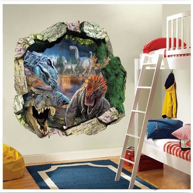 3d dinosaurs through the wall stickers jurassic park home decoration zooyoo1439 diy cartoon kids room wall decal movie mural art