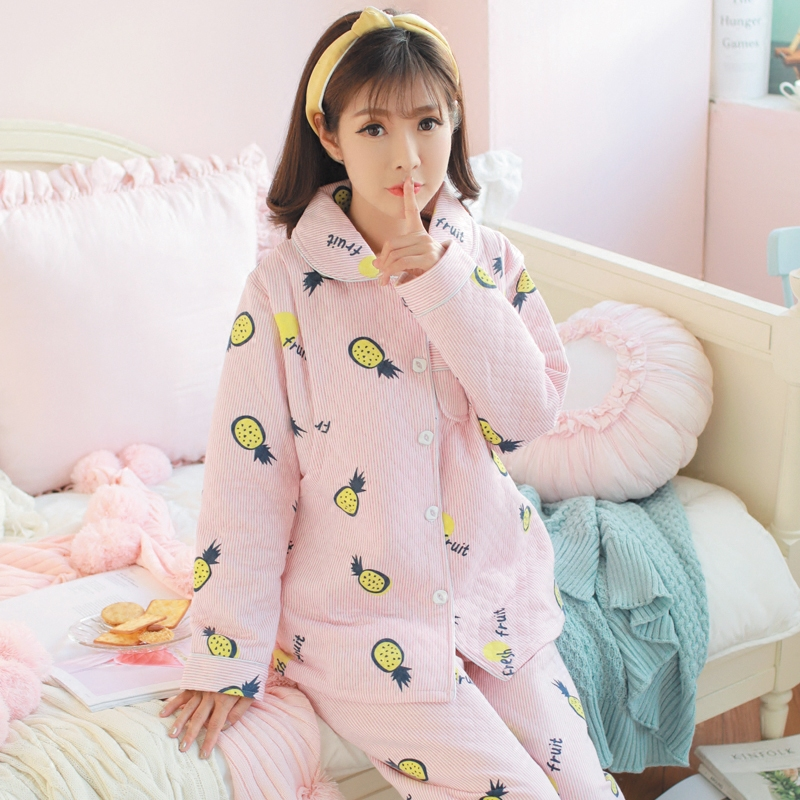 2018 thicken breastfeeding pajama breast feeding nightwear maternity nursing pajamas pregnant women sleepwear pregnancy pyjamas