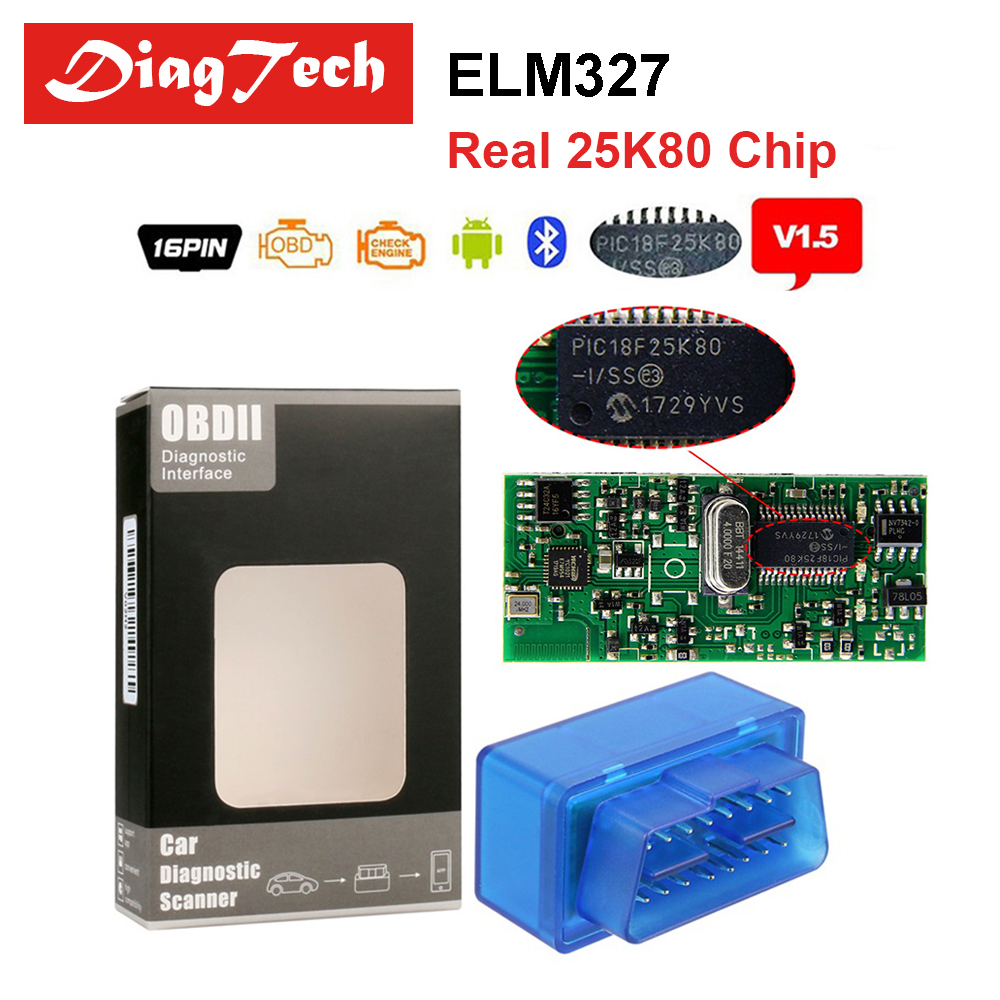 Super Mini ELM327 V1.5 PIC18F25K80 Bluetooth ELM 327 1.5 OBD2 Diagnostic Tool ELM327 Support 9 Kinds of OBDII J1850 Protocols мини elm327 bluetooth obdii автоматический сканер b06 автомобилей диагностический сканер