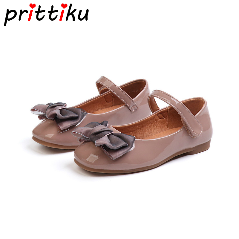 Autumn 2018 Toddler Girl Patent Leather Flats Little Kid Bowknot Walk Loafers Children School Fashion Brand Princess Dress Shoes