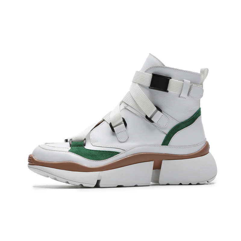 Casual Stylesowner Kuh Plattform Schnalle apricot Design Winter Herbst Green Neue Schuhe Trends Boden Leder Dicken Hot Turnschuhe w8IHY8rq