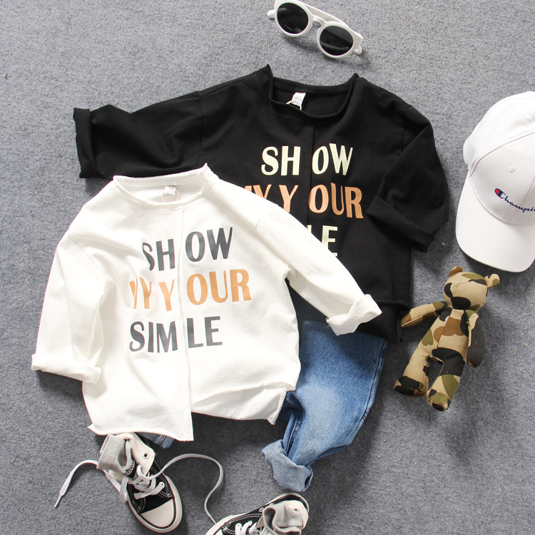 only t shirt 1pc new 2018 spring boys letter O neck irregular t shirt boys long sleeve fashion style t shirt