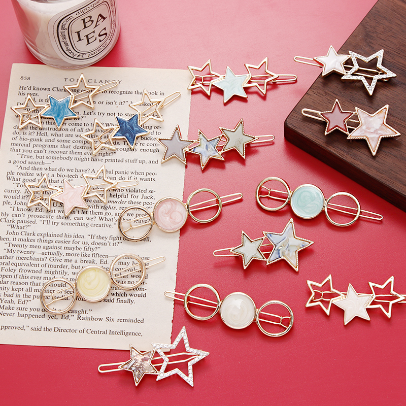 2019 New Women Cute Acetate Round Star Alloy Hair Clip Headwear Hair Ornament Headband Hairpin Barrette Fashion Hair Accessories