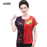 XJXKS Korean Style Women Clothes 2019 T Shirt Thin High Quality Silk Tee Shirt Femme Plus Size Printing Splice Soft Women Tops