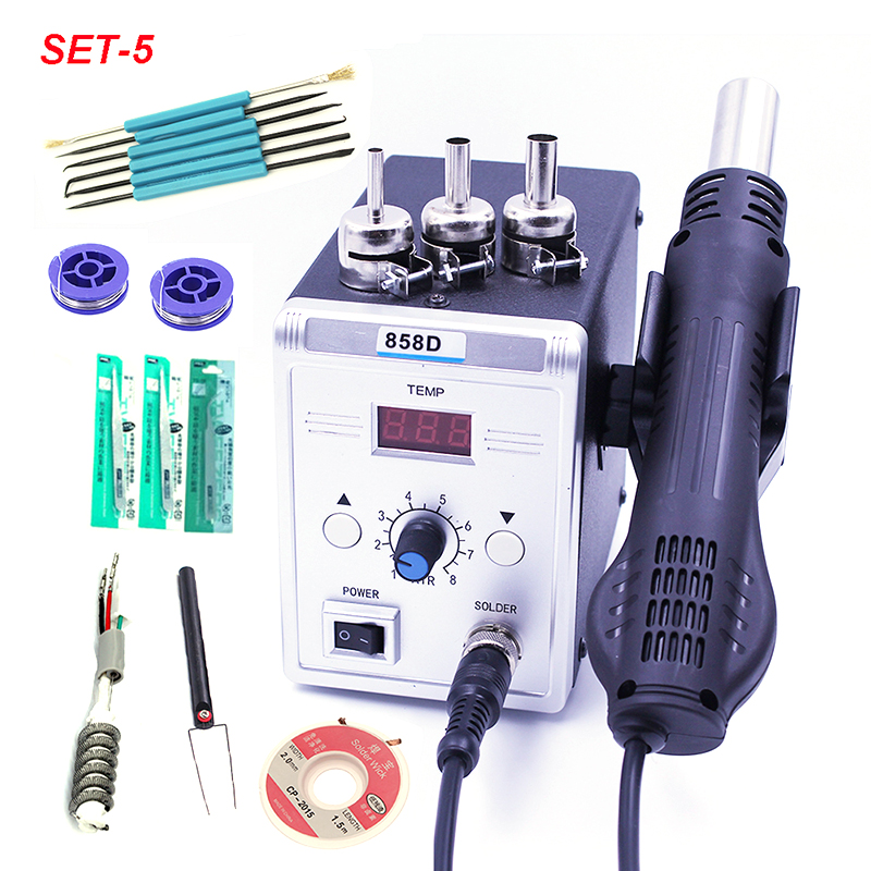 Hot Air Gun 858D 700W BGA Rework Solder Station Soldering Heat Air Gun Station 220V / 110V For SMD SMT Welding Repair With Gifts