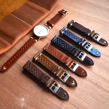 Correa de cuero Vintage hecha a mano reloj Correa accesorios pulsera 18mm 20mm 22mm 24mm rojo oscuro blanco /correa de reloj de línea negra