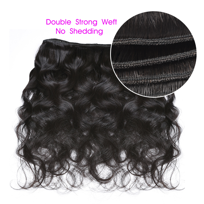 Image 4 - AliAfee Hair Chinese Hair Bundles With Closure Natural Color Body Wave Hair Weave Human Hair Bundles With 4*4 Closur Non Remy-in 3/4 Bundles with Closure from Hair Extensions & Wigs