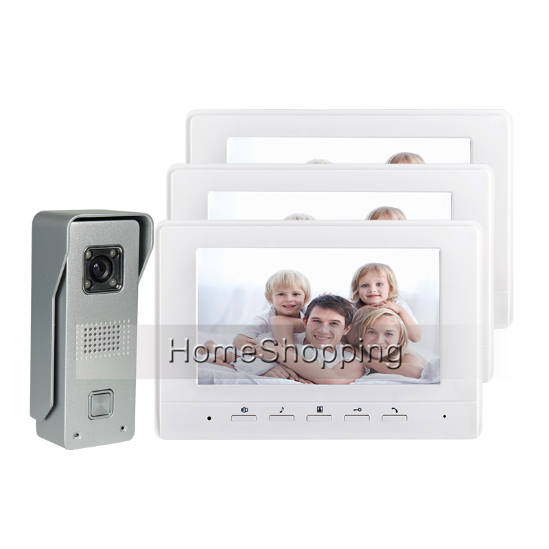 FREE SHIPPING New 7 Color Screen Video Intercom Door Phone + 3 White Monitor + Metal Night Vision Outdoor Door Camera IN STOCK free shipping new wired 7 color tft touch screen video doorphone intercom 1 white monitor night vision door camera in stock