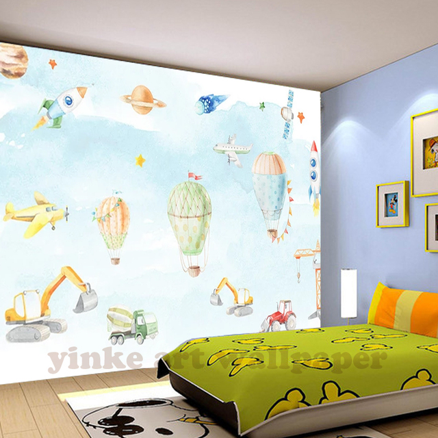 North European Simple 3D Hand Painted Plane Wallpaper For Kids Room Boys  Girl Bedroom Wall Decor