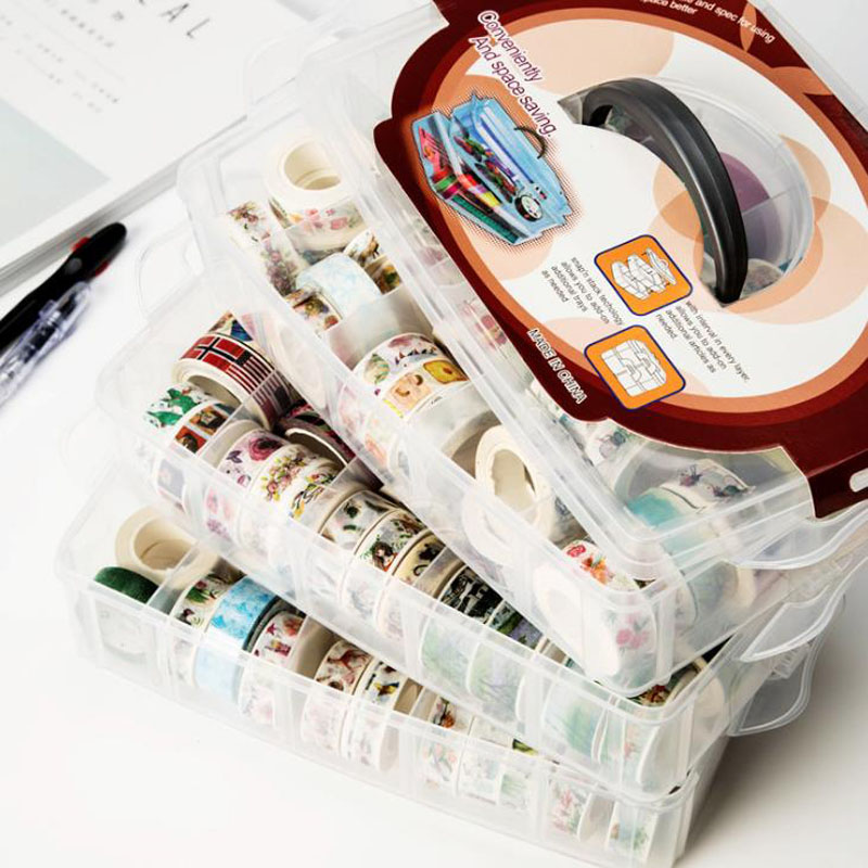 1 Pcs Large Size MultiFunction 3 layers 30 grids Washi tape storage box transparent box accessories Handcarry stationery Holder jewish baker s pastry secrets