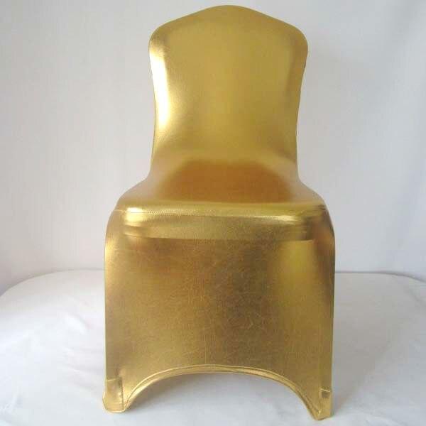 WedFavor 100 stks Glanzend Metallic Goud Zilver Spandex Stoelhoezen Lycra Stretch Wedding Bronzing Stoel Cover Voor Hotel Event Party-in Stoelhoes van Huis & Tuin op  Groep 1