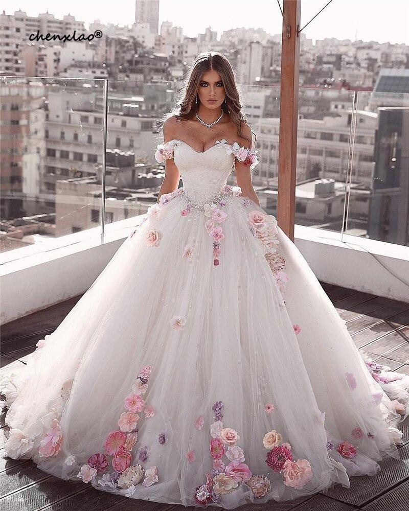 Vestido De Noiva Ball Gown White Wedding Dresses 2019 Off The Shoulder Sweetheart Lace-Up 3D Flower Wedding Dress Bridal Gowns