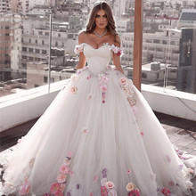Ball-Gown Wedding-Dresses Flower Sweetheart Off-The-Shoulder White 3D Lace-Up No Vestido-De-Noiva