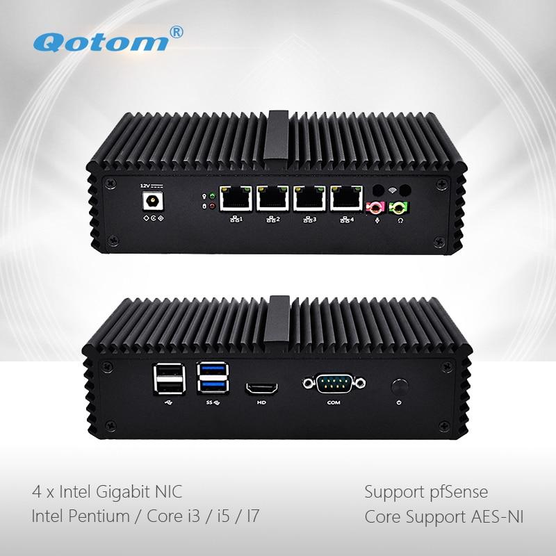 Qotom Mini PC Q300G4 Pentium i3 i5 i7 avec 4 Gigabit NIC Soutien AES-NI Pfsense comme Routeur Pare-Feu Sans Ventilateur Petit ordinateur PC Boîte